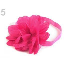 Pružná čelenka do vlasov s kvetom malinová 36ks Stoklasa