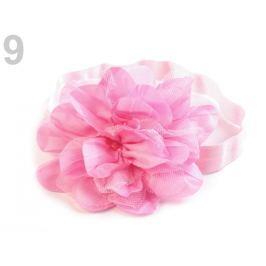 Pružná čelenka do vlasov s kvetom ružová sv. 36ks Stoklasa