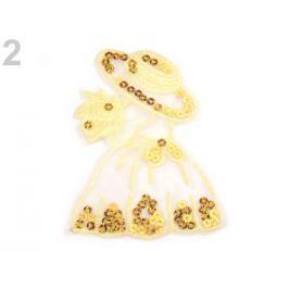 Nažehlovačka dáma s flitrami malá bielo žltá 1ks Stoklasa