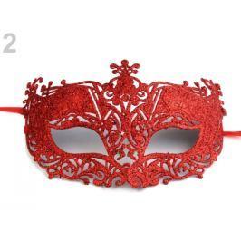 Karnevalová maska - škraboška s glitrami červená 12ks Stoklasa
