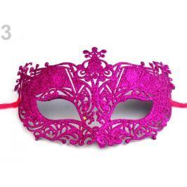 Karnevalová maska - škraboška s glitrami fuchsiová 12ks Stoklasa
