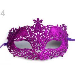 Karnevalová maska - škraboška s glitrami fialová purpura 12ks Stoklasa