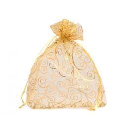 Darčekové vrecúško 13,5x17,0 cm organza s ornamentami zlatá 50ks Stoklasa