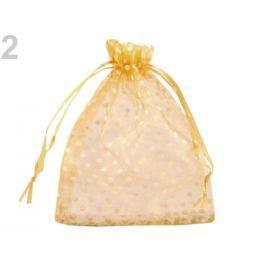 Darčekové vrecúško 8,7x12,7 cm organza s bodkami zlatá 10ks Stoklasa