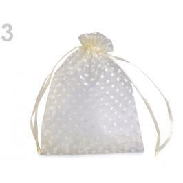 Darčekové vrecúško 8,7x12,7 cm organza s bodkami krémová najsvetl 300ks Stoklasa