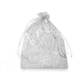 Darčekové vrecúško 13,5x18,5 cm organza s ornamentami biela 10ks Stoklasa