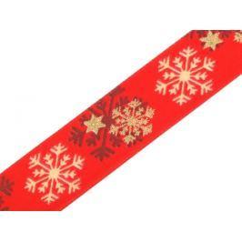 Vianočná stuha s drôtom šírka 25 mm vločky Fiery Red 20m
