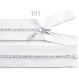 Kosticový zips šírka 4 mm dĺžka 70 cm so štrasovými kamienkami White 10ks Stoklasa