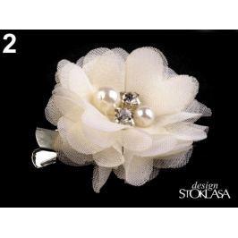 Brošňa / ozdoba kvet s kamienkami Ø5 cm krémová najsvetl 1ks