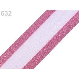 Monofilová stuha s lurexom šírka 25 mm ružová str. 25m