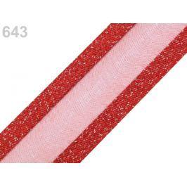 Monofilová stuha s lurexom šírka 25 mm červená sv. 25m