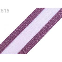 Monofilová stuha s lurexom šírka 25 mm fialová tm. 25m