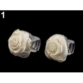 Štipec do vlasov 10x13-15 mm s ružičkou krémová najsvetl 10ks