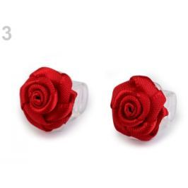 Štipec do vlasov 10x13-15 mm s ružičkou červená  10ks