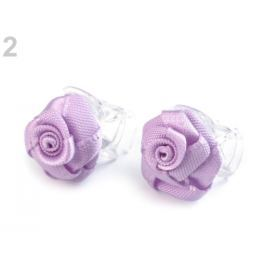 Štipec do vlasov 10x13-15 mm s ružičkou fialová lila 40ks