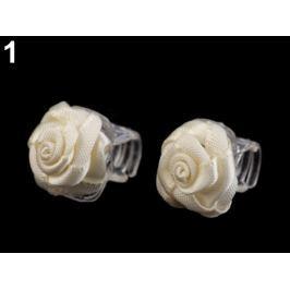 Štipec do vlasov 10x13-15 mm s ružičkou krémová najsvetl 40ks
