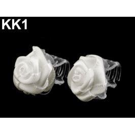 Štipec do vlasov 10x13-15 mm s ružičkou Off White 40ks