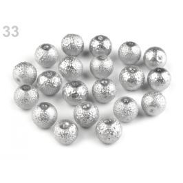 Voskované perly vrúbkované Ø10 mm strieborná 800ks Stoklasa