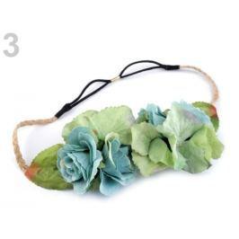 Pružná čelenka do vlasov s kvetmi tyrkys sv. 3ks Stoklasa
