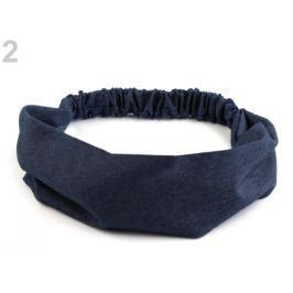 Látková čelenka do vlasov riflová jeans žihaný 3ks Stoklasa