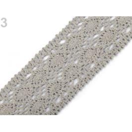 Čipka / vsádka paličkovaná šírka 50 mm Agate Gray 22.5m Stoklasa