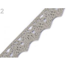 Bavlnená čipka šírka 25 mm paličkovaná Feather Gray 22.5m Stoklasa