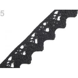 Bavlnená čipka šírka 25 mm paličkovaná Black 22.5m Stoklasa