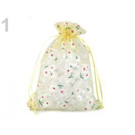 Darčekové vrecúško 14,5x20 cm organza s kvetmi žltá žiarivá 10ks Stoklasa