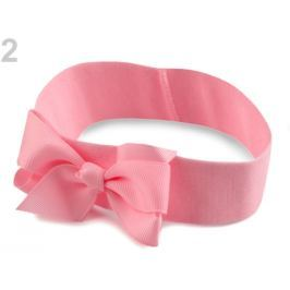 Detská elastická čelenka do vlasov s mašľou ružová sv. 48ks Stoklasa