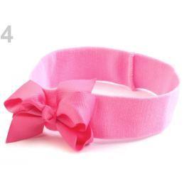 Detská elastická čelenka do vlasov s mašľou ružová str. 48ks Stoklasa