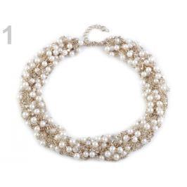 Náhrdelník z retiazok s perlami biela perleť 1ks Stoklasa