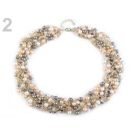 Náhrdelník z retiazok s perlami perleť sv. 4ks Stoklasa