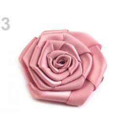 Brošňa / ozdoba saténová ruža Ø5,5 cm staroružová sv. 1ks