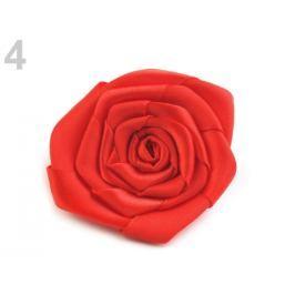 Brošňa / ozdoba saténová ruža Ø5,5 cm červená 5ks