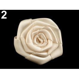 Brošňa / ozdoba saténová ruža Ø5,5 cm vanilková 5ks