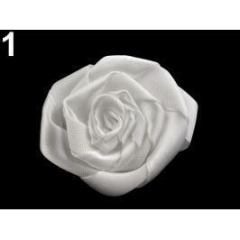 Brošňa / ozdoba saténová ruža Ø5,5 cm mliečna 20ks