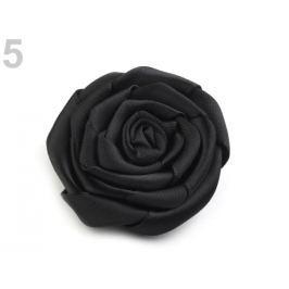 Brošňa / ozdoba saténová ruža Ø5,5 cm čierna 20ks