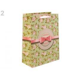 Darčeková taška s kvetmi 25x33 cm zelenobežova 48ks Stoklasa
