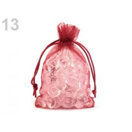 Darčekové vrecúško 10x15 cm organza červená vianočná  10ks Stoklasa