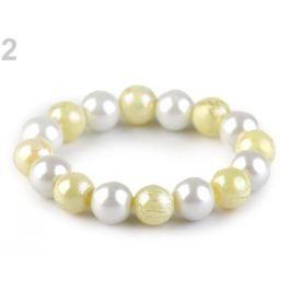 Pružný perlový náramok bielo žltá 48ks Stoklasa