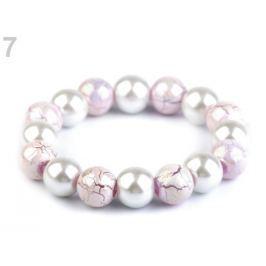 Pružný perlový náramok fialová kriedová 48ks Stoklasa