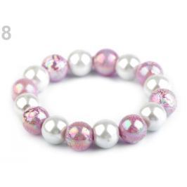 Pružný perlový náramok fialková sv. 48ks Stoklasa