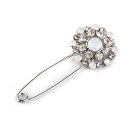 Brošňa kvet na zatváracom špendlíku crystal 1ks Stoklasa