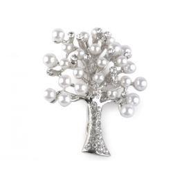 Brošňa s perlami a brúsenými kamienkami strom crystal 1ks Stoklasa