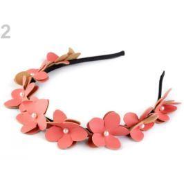 Čelenka do vlasov s kvetmi a perlami ružová korálová 1ks Stoklasa