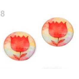 Kabošon kvet  Ø30 mm červená rumelka 20ks Stoklasa