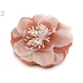 Brošňa / ozdoba kvet s piestikmi Ø10 cm korálová sv. 1ks Stoklasa