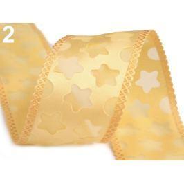 Vianočná stuha hviezdy šírka 40 mm zlatá sv. 112.5m Stoklasa