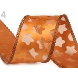 Vianočná stuha hviezdy šírka 40 mm hnedobéžová 112.5m Stoklasa