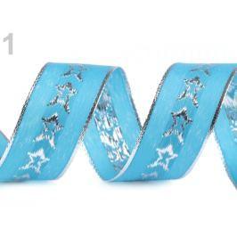 Vianočná stuha s lurexom a drôtom šírka 40 mm Blue Curacao 22.5m Stoklasa